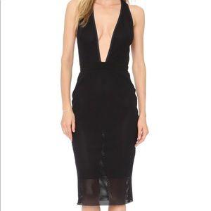 Bec & Bridge Noir Deep V Mesh Dress